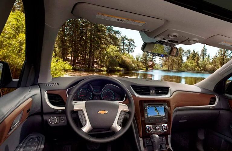 Driver's cockpit of the 2017 Chevy Traverse