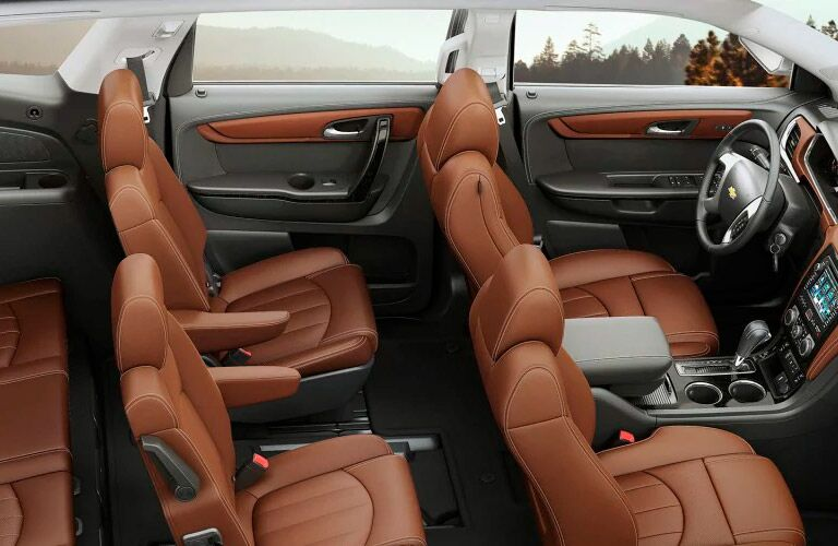 Overhead view of the front two rows of seating in the 2017 Chevy Traverse