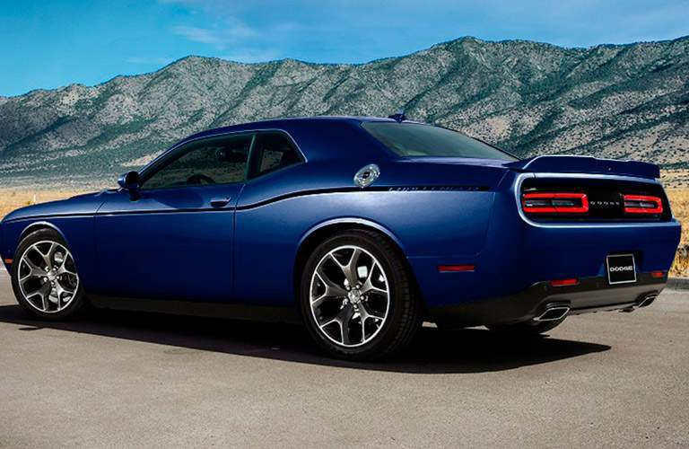 Driver's side exterior view of a blue 2016 Dodge Challenger