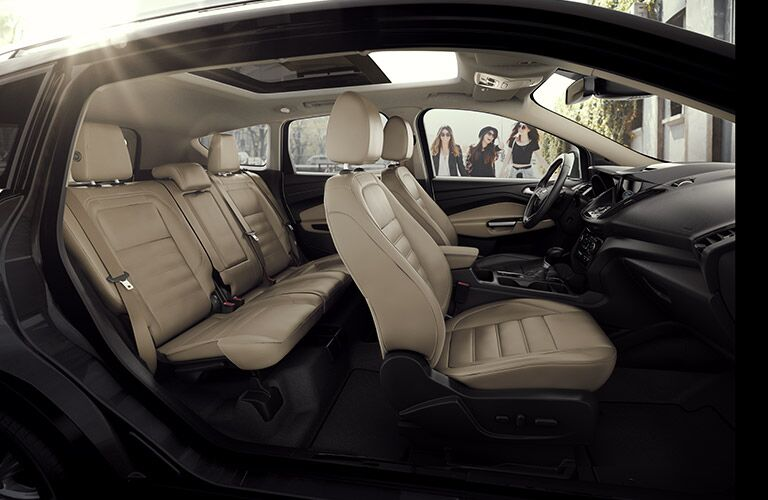 Side view of the 2017 Ford Escape's two rows of seating