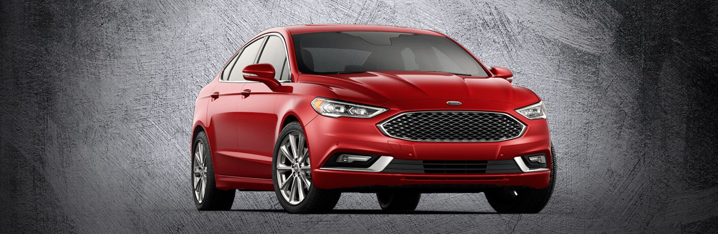 Front exterior view of a red 2017 Ford Fusion