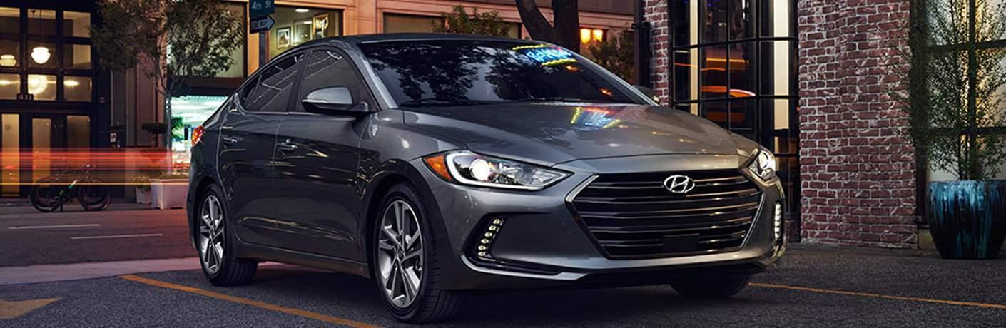 Front exterior view of a gray 2017 Hyundai Elantra