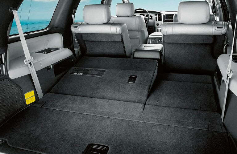 Third-row seat of the 2017 Toyota Sequoia folded down for storage space