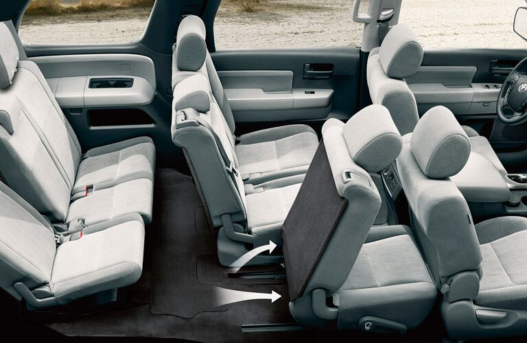 Overhead view of the three rows of seating in the 2017 Toyota Sequoia