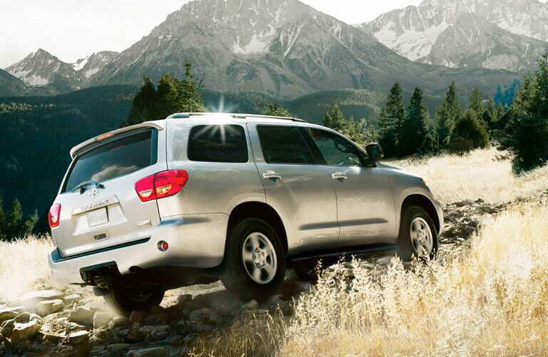 Rear passenger side exterior view of a gray 2017 Toyota Sequoia