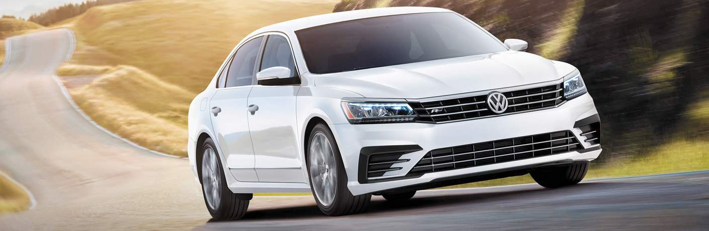 Front exterior view of a white 2017 VW Passat