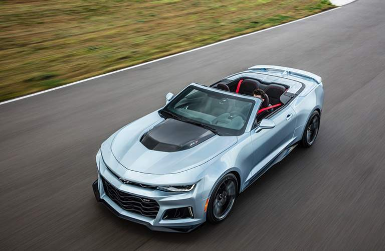 Front exterior view of a gray 2017 Chevy Camaro