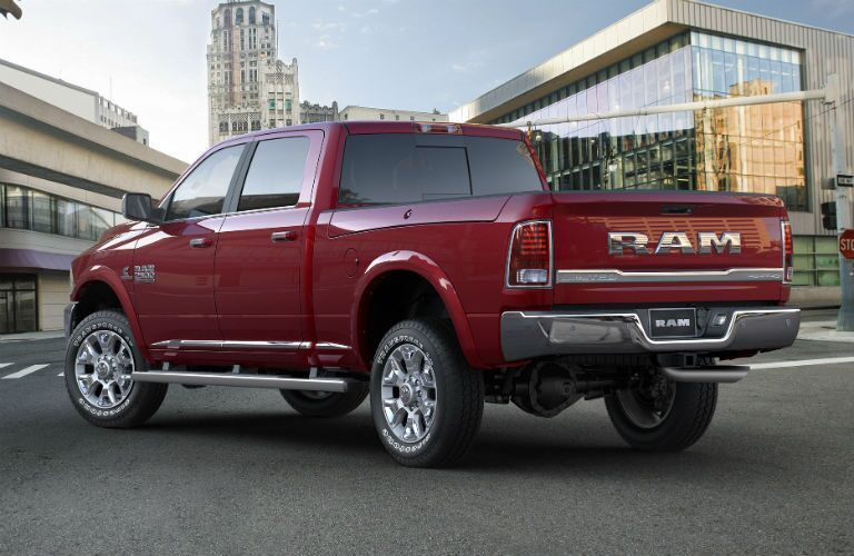 Rear exterior view of a red 2017 Ram 2500
