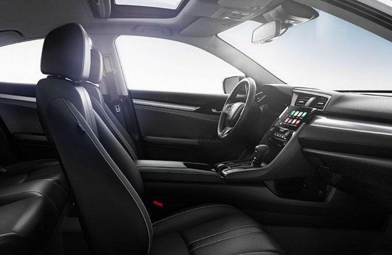2017 Honda Civic interior of front seats and dashboard
