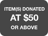 Items donated at $50 or above