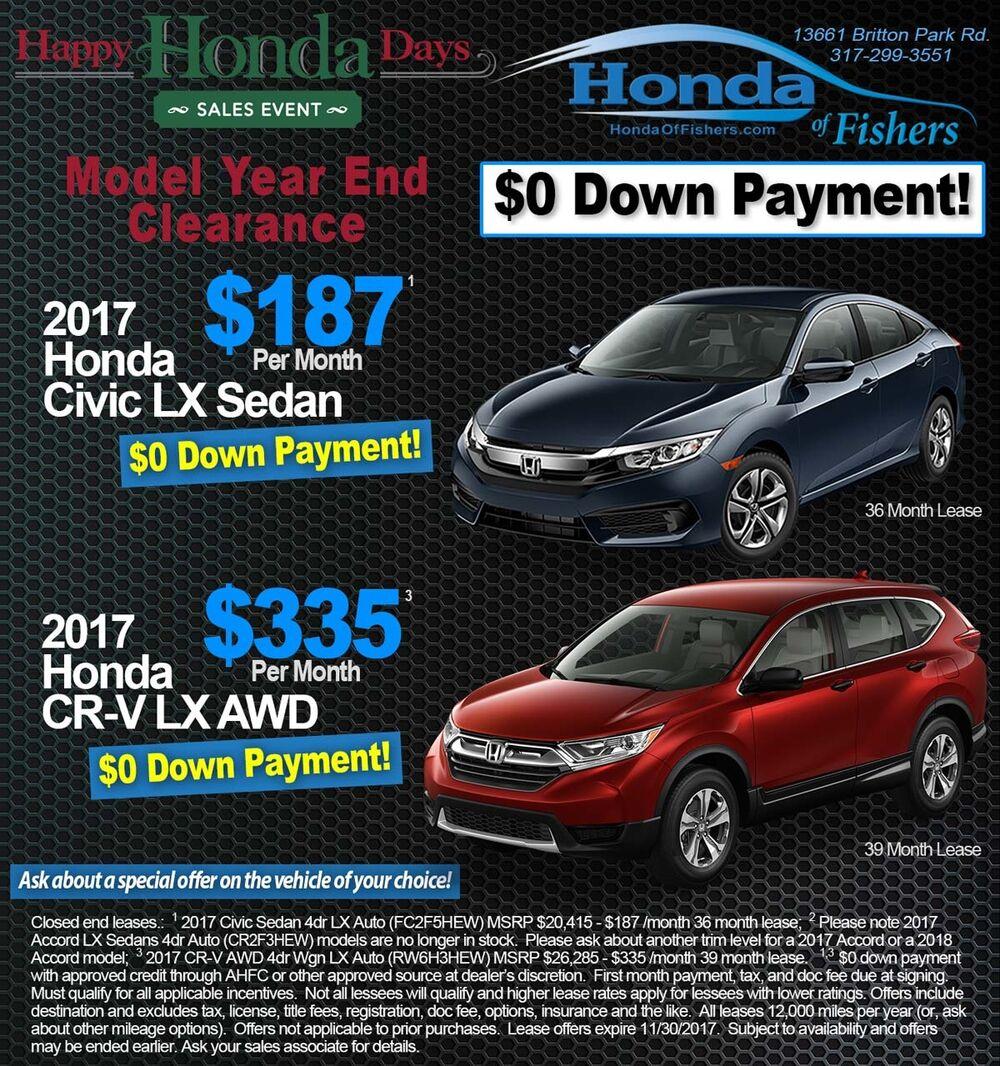 New vehicle specials at Honda of Fishers