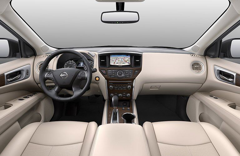 2017 Nissan Pathfinder interior overview with infotainment system