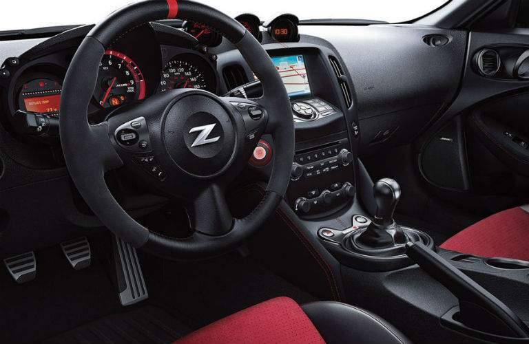 Interior view of the steering wheel inside a 2019 Nissan 370Z