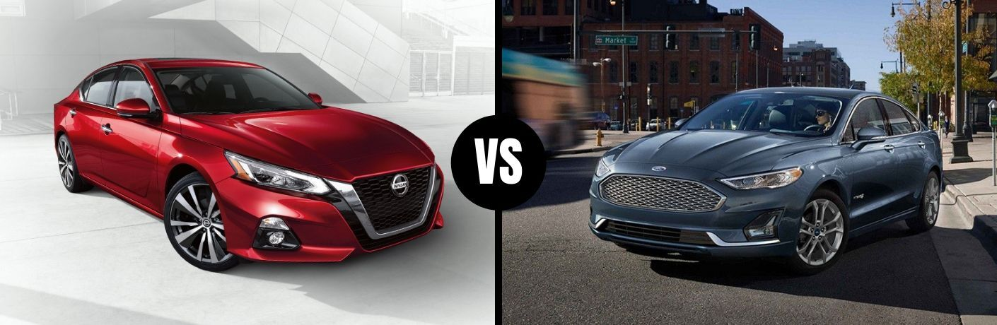 Comparison image of a red 2019 Nissan Altima and a blue 2019 Ford Fusion