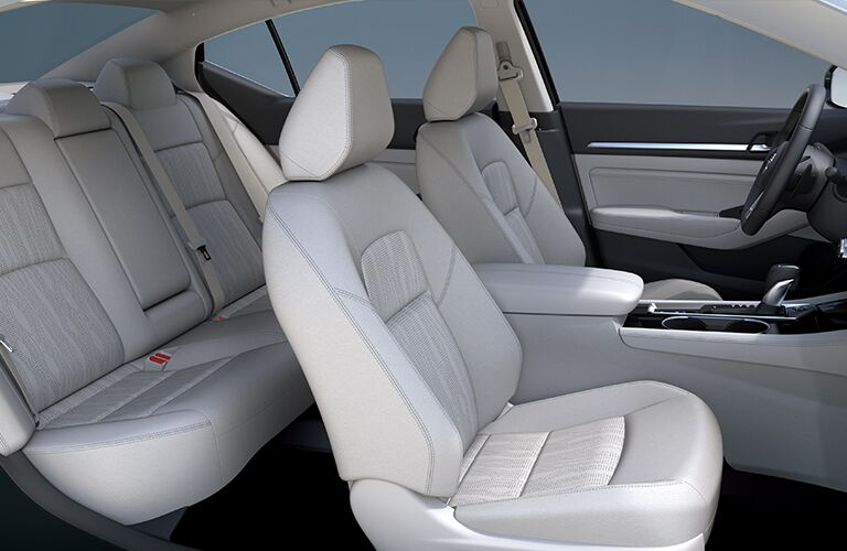 Interior view of the beige seating inside a 2019 Nissan Altima