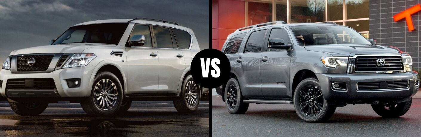 Comparison image of a white 2019 Nissan Armada and a gray 2019 Toyota Sequoia