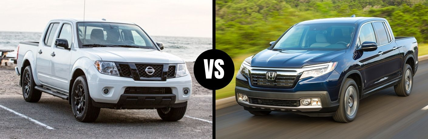 Comparison image of a white 2019 Nissan Frontier and a blue 2019 Honda Ridgeline