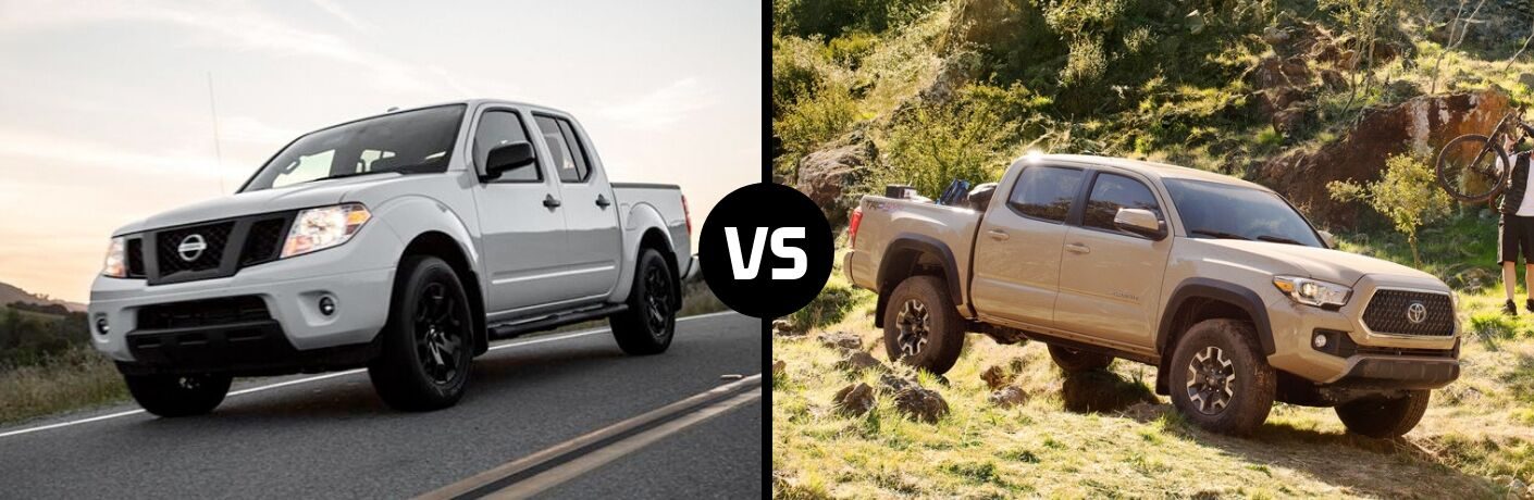 Comparison image of a white 2019 Nissan Frontier and a tan 2019 Toyota Tacoma