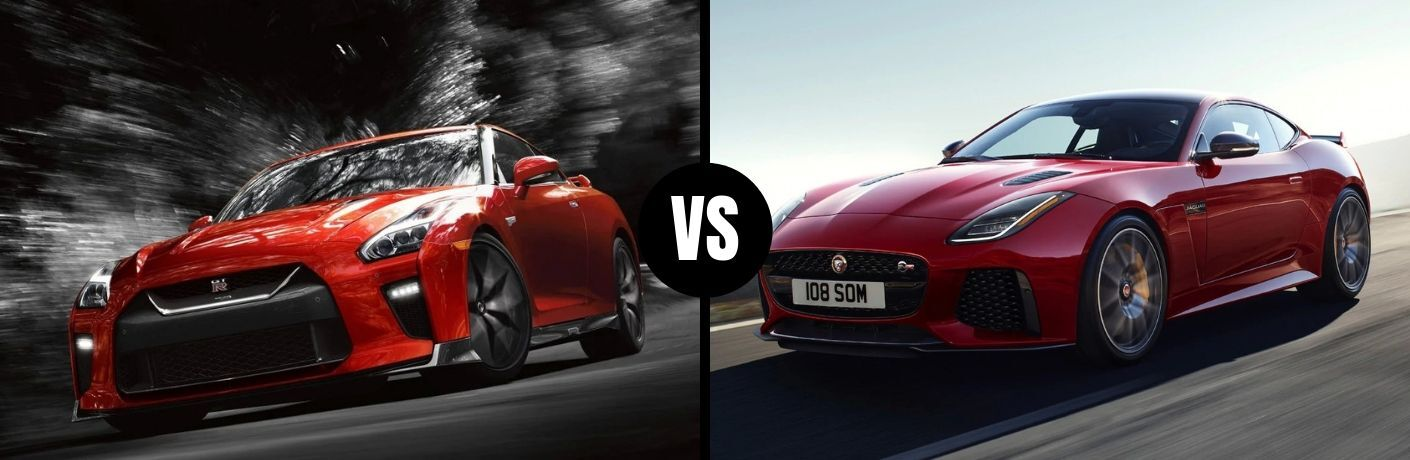 Comparison image of a red 2019 Nissan GT-R and a red 2019 Jaguar F-TYPE