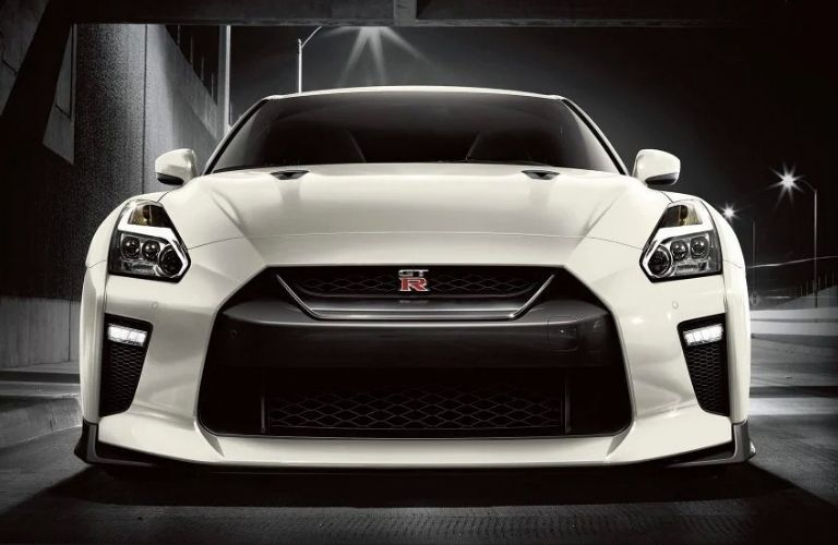 Exterior view of the front of a white 2019 Nissan GT-R