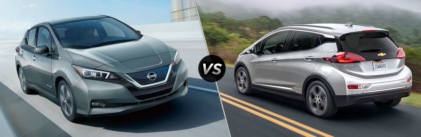 Comparison image of a gray 2019 Nissan Leaf and a silver 2019 Chevrolet Bolt EV