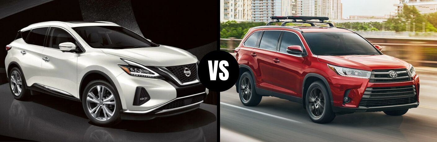 Comparison image of a white 2019 Nissan Murano and a red 2019 Toyota Highlander
