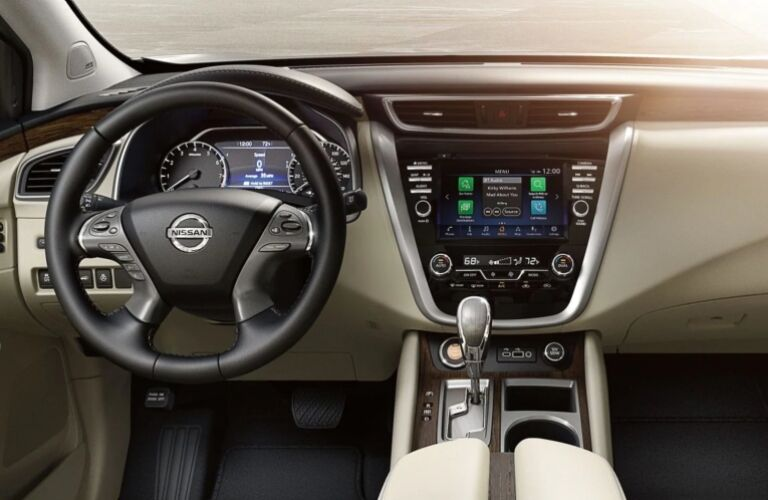 Interior view of the steering wheel and touchscreen inside a 2019 Nissan Murano