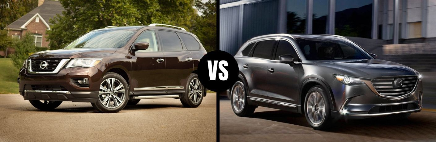 Comparison image of a brown 2019 Nissan Pathfinder and a gray 2019 Mazda CX-9