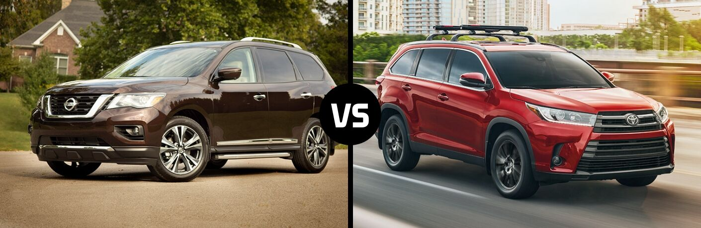 Comparison image of a brown 2019 Nissan Pathfinder and a red 2019 Toyota Highlander