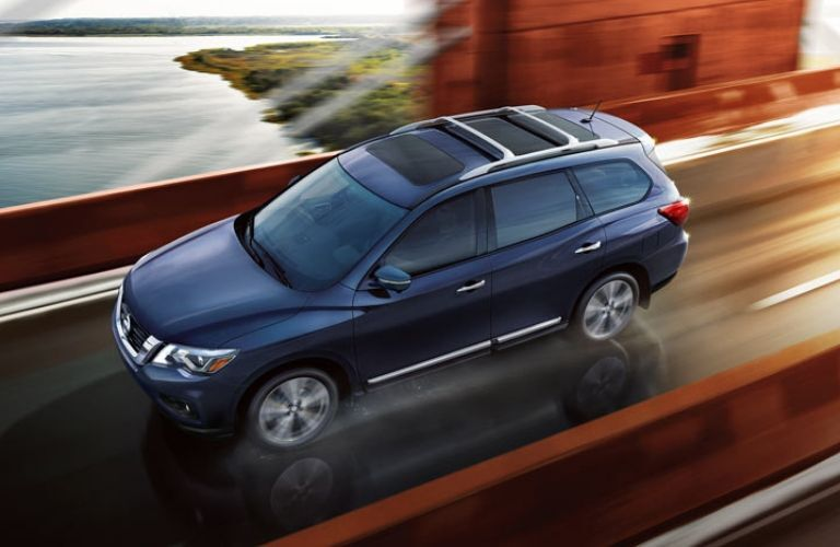 Exterior view of a blue 2019 Nissan Pathfinder