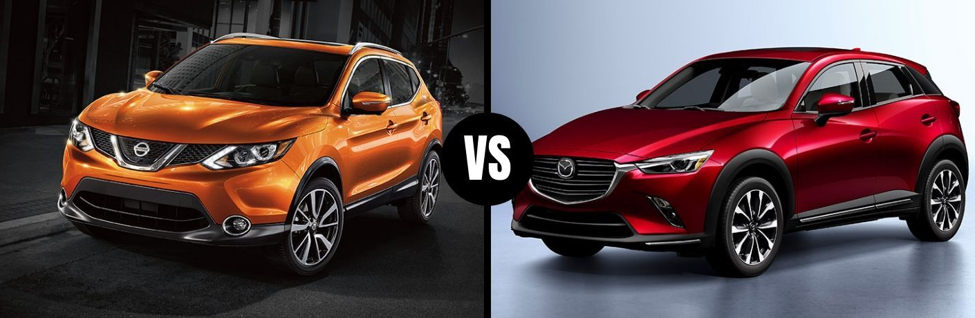 Comparison image of an orange 2019 Nissan Rogue Sport and a red 2019 Mazda CX-3