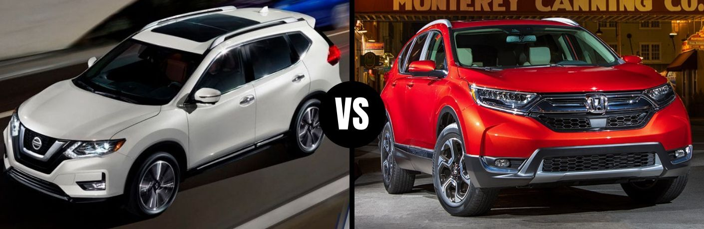 Comparison image of a white 2019 Nissan Rogue and a red 2019 Honda CR-V