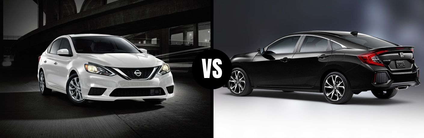 Comparison image of a white 2019 Nissan Sentra and a black 2019 Honda Civic