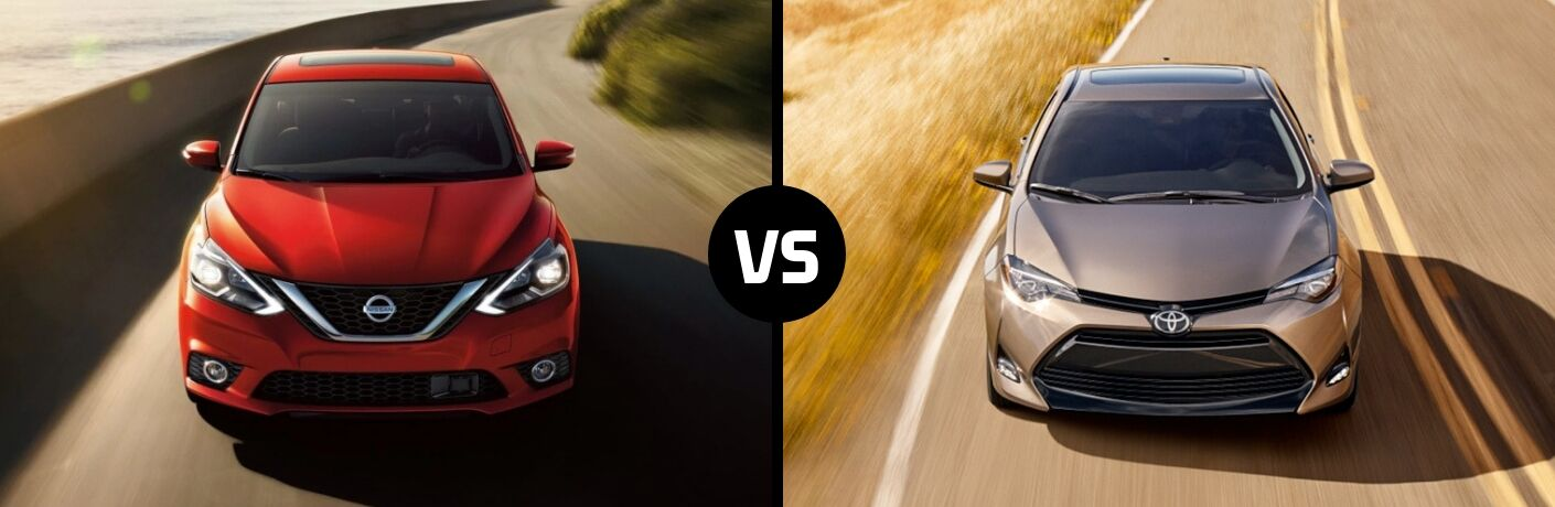 Comparison image of a red 2019 Nissan Sentra and a silver 2019 Toyota Corolla