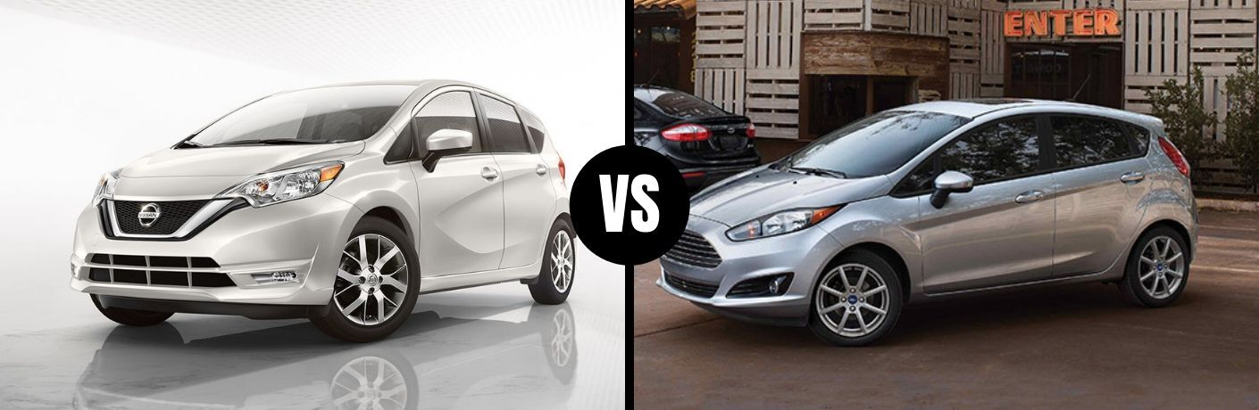 Comparison image of a white 2019 Nissan Versa Note and a silver 2019 Ford Fiesta Hatch