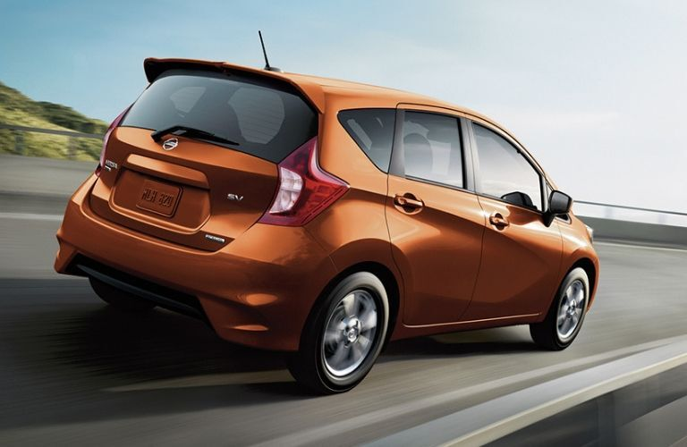 Exterior view of an orange 2019 Nissan Versa Note
