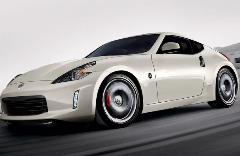 Exterior view of a the front of a white 2020 Nissan 370Z