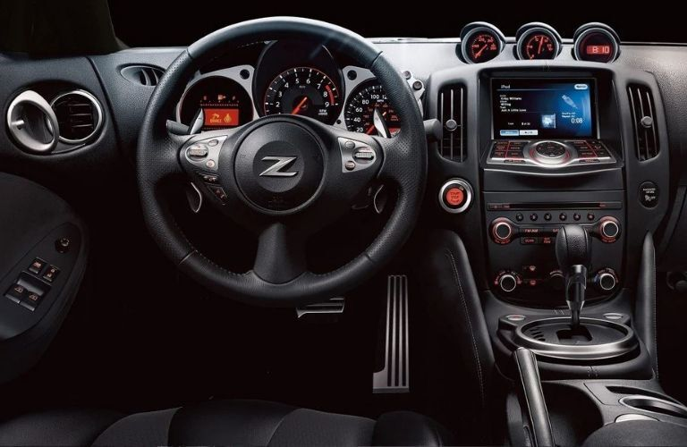 Interior view of the steering wheel and instrument cluster inside a 2020 Nissan 370Z