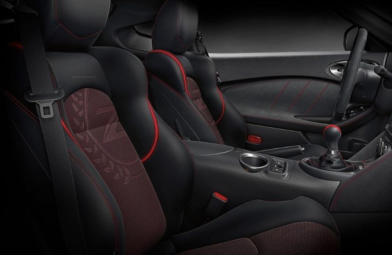 Interior view of the front seating area inside a 2020 Nissan 370Z
