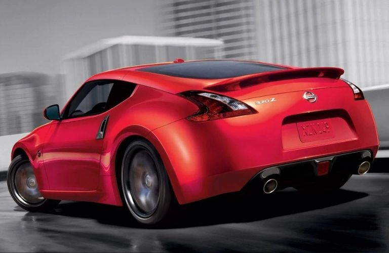 Exterior view of the rear of a red 2020 Nissan 370Z