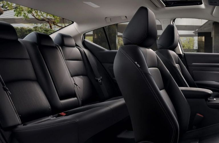 Interior view of the rear seating area inside a 2020 Nissan Altima
