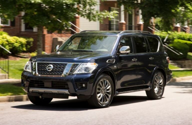 Exterior view of the front of a blue 2020 Nissan Armada
