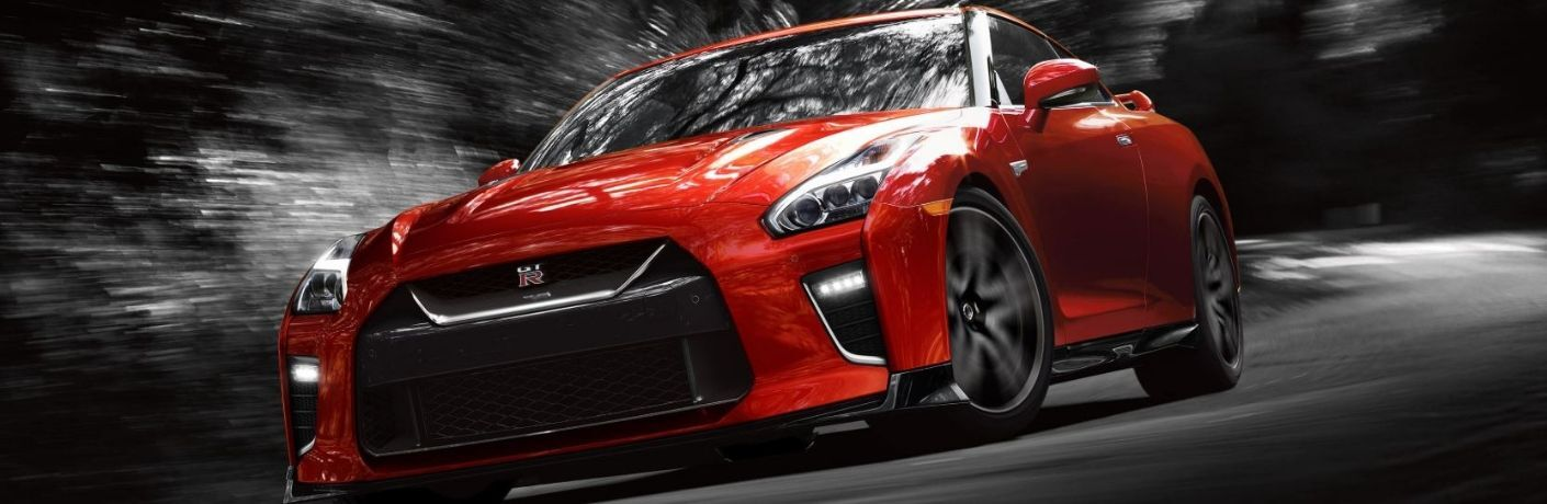 Exterior view of a red 2020 Nissan GT-R