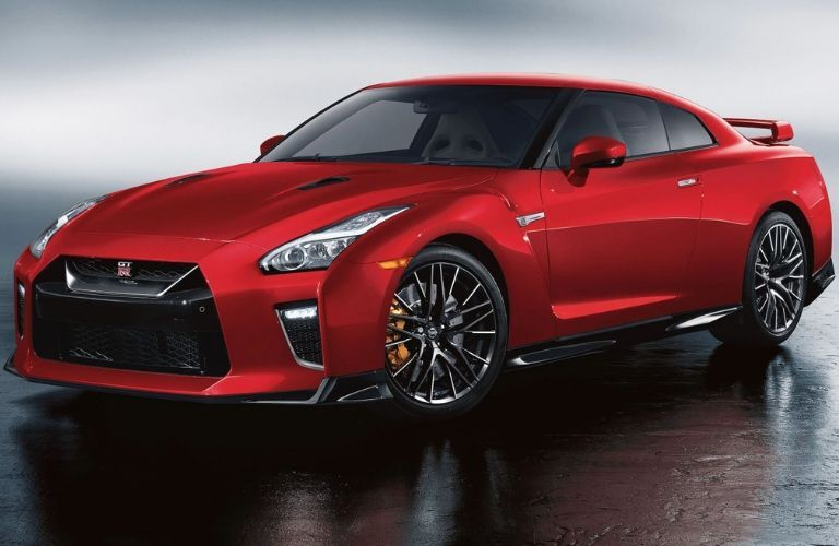 Exterior view of the front of a red 2020 Nissan GT-R