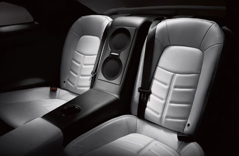 Interior view of the rear seating area inside a 2020 Nissan GT-R