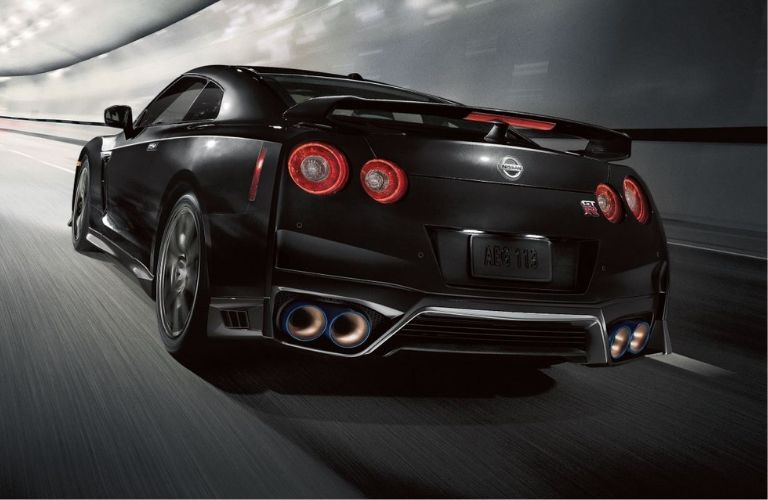 Exterior view of the rear of a black 2020 Nissan GT-R