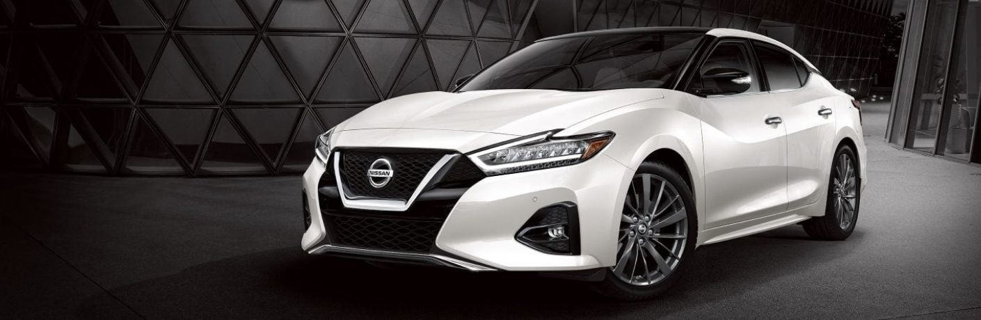Exterior view of a white 2020 Nissan Maxima