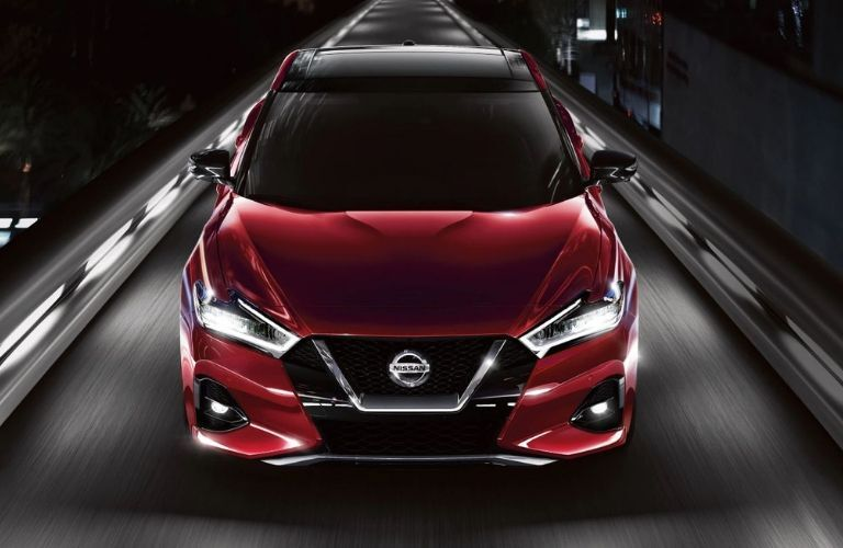 Exterior view of the front of a red 2020 Nissan Maxima