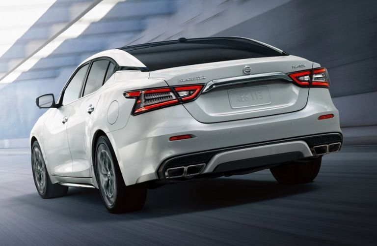 Exterior view of the rear of a white 2020 Nissan Maxima