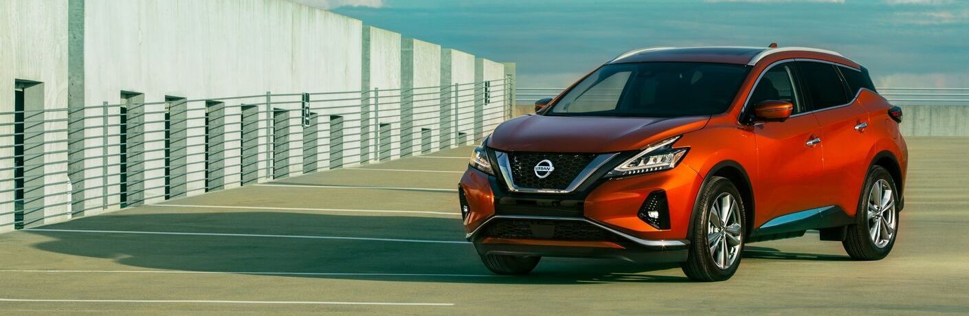 Exterior view of an orange 2020 Nissan Murano